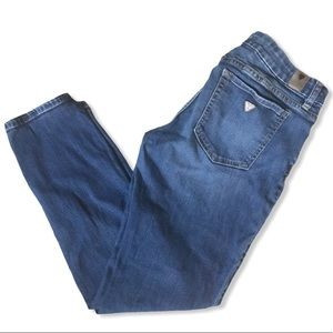 GUESS Power Mid Rise Curvy Jeans in Classic Blue Lightweight Skinny Denim Fall